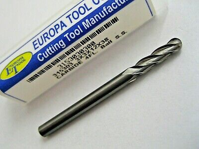 3mm SOLID CARBIDE BALL NOSED 4 FLUTED END MILL MADE BY EUROPA TOOL 3153030300 #8