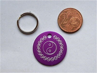 1 MÉDAILLE GRAVEE YING YANG FUSCHIA chat chien 25 mm collier gravure offerte