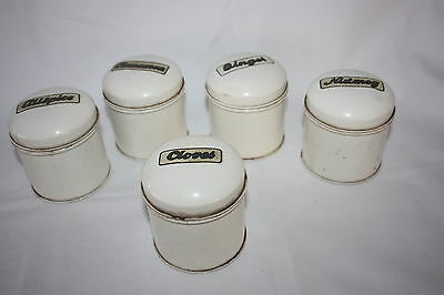 VINTAGE SET OF 5 METAL SPICE CONTAINERS WHITE W/ PAPER LABELS