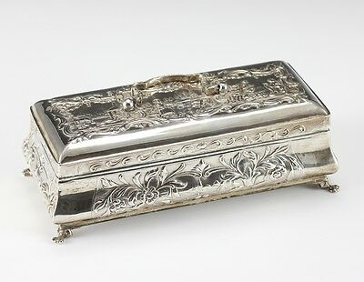 Dutch Silver Claw Foot Box with handle - Repousse of figural scenes, florals