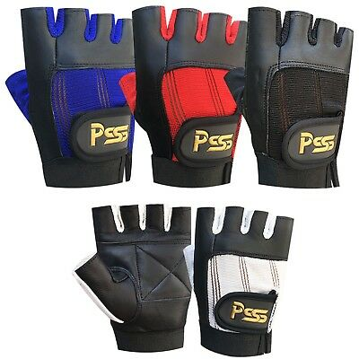 Weight Lifting Leather Padded Gloves Training  Fitness Body Building Gym Sports
