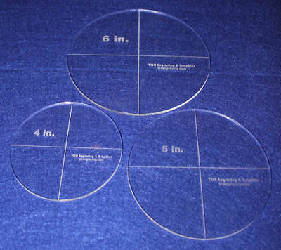 """3 Piece Circle Set  4"""", 5"""", 6""""  1/8"""" Clear Acrylic - Quilting Templates"""