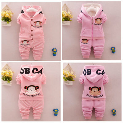 Toddler Girls 2PCs Monkey Cartoon Tracksuits Set Sport Casual Set Size 0-3 Years