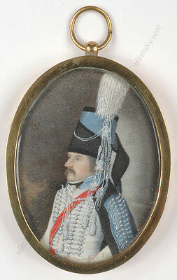 """""""Portrait of Saxonian Hussar Officer"""", high quality German miniature, 1790s"""