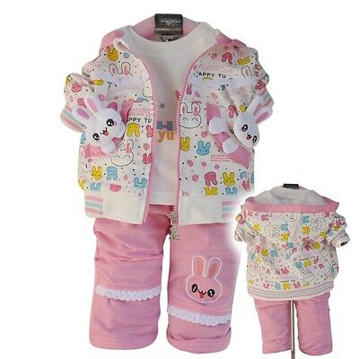 Toddler Girls 3PC Sport Style Outfit Set Rabbit Size 1-3Years Jacket+Top+Trouser