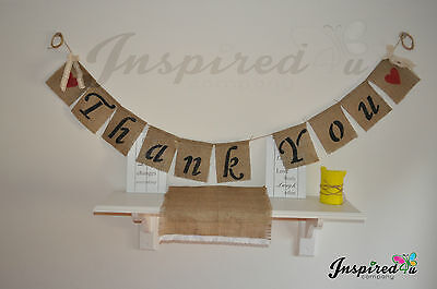 Thank You Lace Hessian Bunting Banner Wedding Vintage  Party Rustic Photo Props