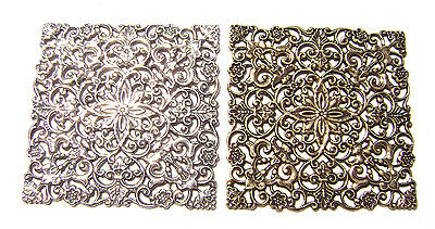 4107 Antiqued Brass Sterling Silver pd Large Filigree Square Pendant Centerpiece