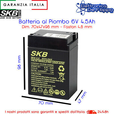 Batteria Ricaricabile Al Piombo 6V 4Ah 5Ah Con Connettore Faston 4.8 Mm Batterie