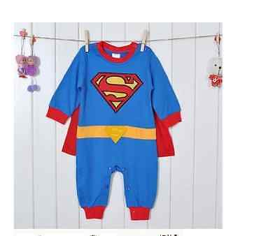 Baby Toddler Fancy Dress Party SUPERMAN Costumes Playsuit Size 3-24months