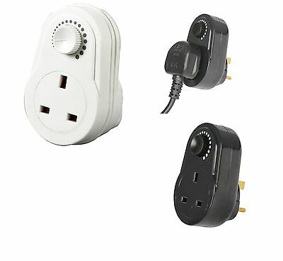 Dimmer Socket Switch Light Table Lamp Mains Plug in Black or White