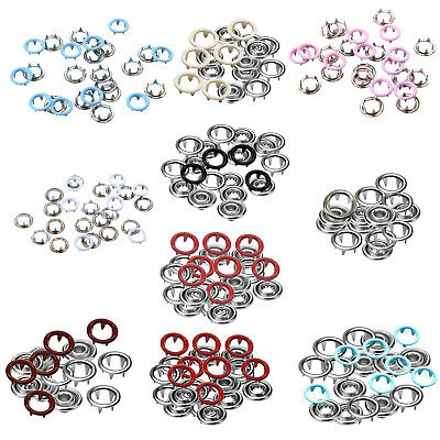 9.5mm Metal Press Snap Fasteners Studs Popper Open Ring No Sew Buttons Dummy 100