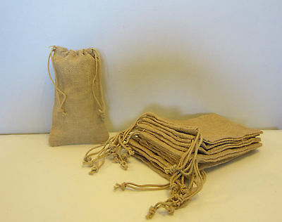 """10 Burlap Jute Sacks With Drawstrings 6"""" By 10"""" Wedding Party Favor Gift Bags"""