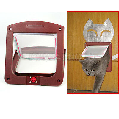 Coffee Brown 4 Way Locking Pet Cat Kitty Small Dog Doggy Flap Safe Door Tunnel