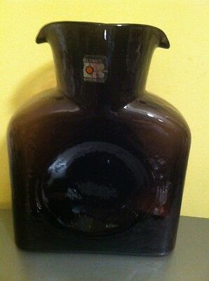 Vintage Blenko Glass Double Spout Amethyst Purple Water Pitcher Bottle Vase