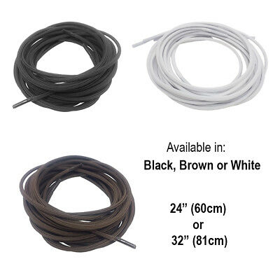 "Elastic Shoelaces in Black, Brown or White - Available in 24"" & 32"" Dressing Aid"