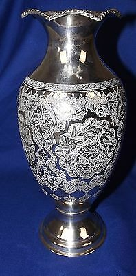 Early 20th Century Superb Persian 84 Solid Silver Vase By Khosrow