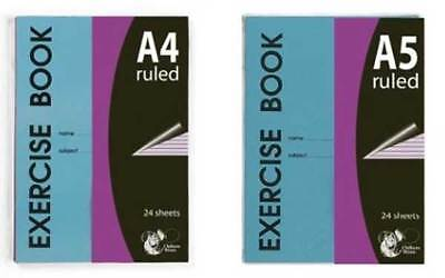 A4 & A5 Ruled Classroom Exercise Books Lined Notebook Student School 6 & 10 Pack