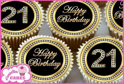 24 x 21ST HAPPY BIRTHDAY BLACK EDIBLE CUPCAKE TOPPERS CAKE RICE PAPER 8266