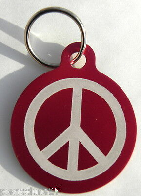 MEDAILLE gravée ROUGE peace and love CHIEN collier harnais gravure offerte