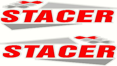 Stacer, 4 Colour, Fishing, Boat, Mirrored Sticker Decal Set of 2