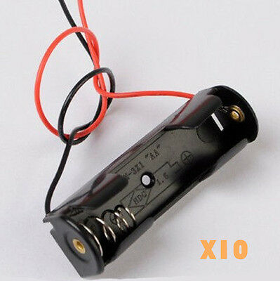 10PCS Plastic AA Battery Storage Case Box Holder for AA with Wire Lead