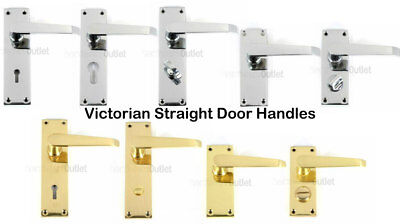 Victorian Straight  Door Handles Lock Latch Bathroom Privacy Euro Brass & Chrome