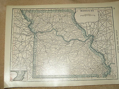 1915  Original Vintage Map MISSOURI / IOWA   99 Years old