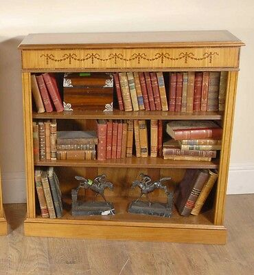 Single Satinwood Sheraton Inlay Open Bookcase Regency Bookcases