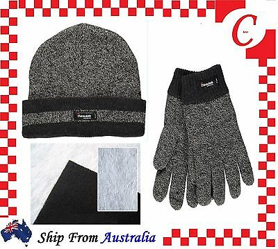 MENS Thermal Knitted THINSULATE 40 Gram INSULATION POLAR FLEECE BEANIES & Gloves