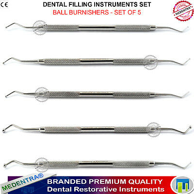 Ball Burnishers Dental Amalgam Shaping Composite Restorations Laboratory 5 Sizes