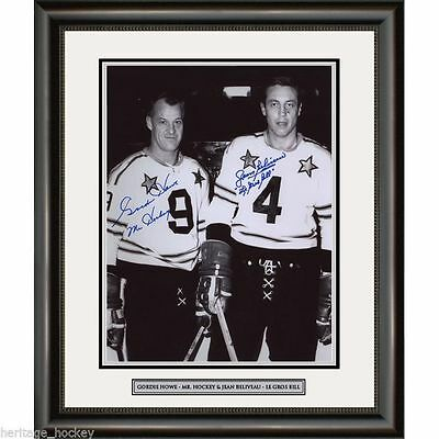 Gordie Howe & Jean Beliveau Signed NHL All-Star Black and White Photo