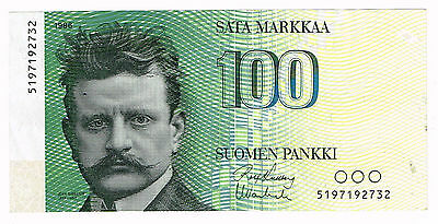 1986 Finland - 100 Markkaa - Light Folds - P115 - Rare No Litt.a!