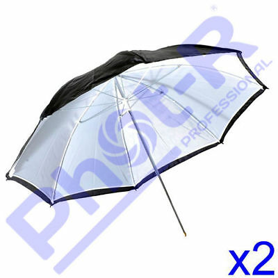 "Phot-R Professional 2x 33""/83cm 2-in-1 Black/White Studio Collapsible Umbrella"