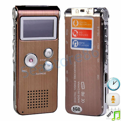 8GB Steel Rechargeable Digital Voice Sound Recorder Dictaphone MP3 Player Record