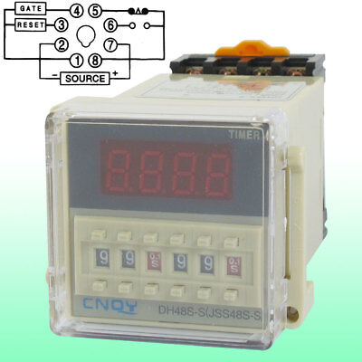 DH48S-S Power on Time Delay Relay 8-Pin SPST 0.1S-99H AC 110V w Socket