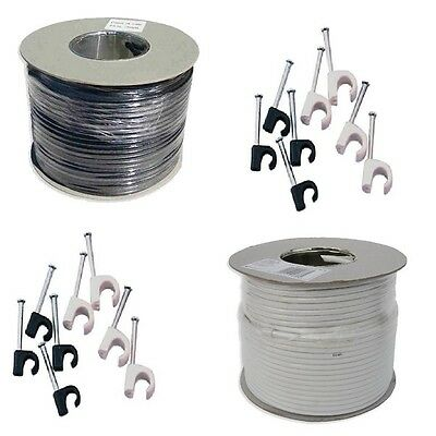 100m AERIAL SATELLITE COAX COAXIAL CABLE WIRE BLACK WHITE 50m 250m AERIAL WIRE