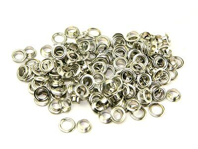 8mm Silver Eyelets Grommets Internal Hole Size with Washers - UK Seller - New