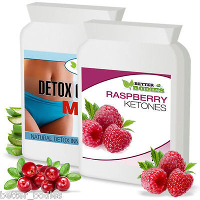60 Raspberry Ketone & 60 Detox Colon Cleanse Weight Loss Slimming Diet Pills