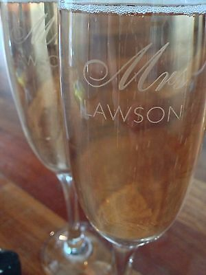 Personalised Engraved Champagne Flutes (set of 2) - Unique Mr & Mrs Wedding Gift