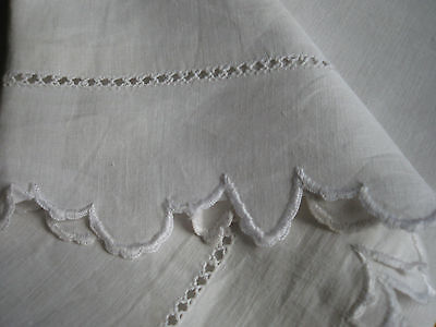 ANTIQUE FRENCH PILLOWCASE- Pure Linen - Scalloped Edges