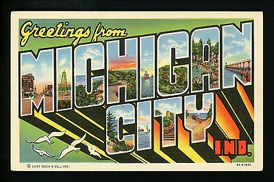 Large Letter postcard linen Michigan City, Indiana IN, Riverboat, Bridge
