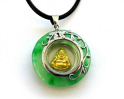 Chinese Feng Shui Rotating Golden Buddha Green Jade Pendant Necklace(PD-J7)