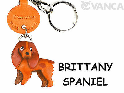 Brittany Spaniel Handmade 3D Leather Dog Keychain *VANCA* Made in Japan #56770