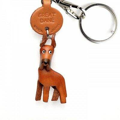 Great Dane Handmade 3D Leather Dog Key chain/ring *VANCA* Made in Japan #56732