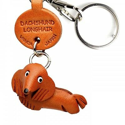 Dachshund Longhair Handmade 3D Leather Dog Keychain *VANCA* Made in Japan #56723