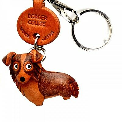Border Collie Handmade 3D Leather Dog Key chain/ring *VANCA* Made in Japan#56708