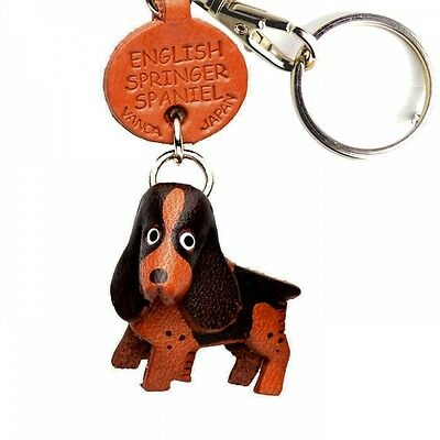 English Springer Handmade 3D Leather Dog Keychain *VANCA* Made in Japan #56772