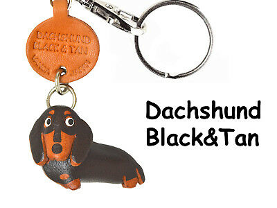 Dachshund Black & Tan 3D Leather Key chain ring *VANCA* Made in Japan #56792