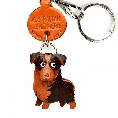 Australian Shepherd Handmade 3D Leather Dog Keychain *VANCA* Made in Japan#56768
