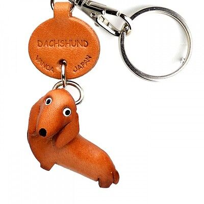 Dachshund Handmade 3D Leather Dog Keychain *VANCA* Keyring Made in Japan #56722